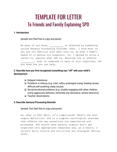 Template for Letter to Family and Friends Explaining SPD